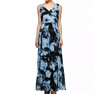 SLNY Surplice Floral Ball Gown